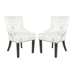 Safavieh - Christian Dining Chair (Set of 2) - Straight, angular lines and simple details distinguish the padded Christian Dining Chair, in vintage-inspired grey on eggshell printed fabric with espresso finished legs. With curved rear legs, exposed brass nail heads and modest sloping arms, Christian carries a contemporary, slightly masculine edge.