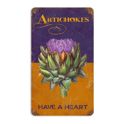 Past Time Signs - Artichokes Vintage Metal Sign - This vintage metal sign is hand made with pride in the USA using heavy gauge American steel. The high-resolution graphics are sublimated and powdercoated for a long-lasting durable finish. Then, it's worked over by hand to give it that vintage look and feel. It's perfect for your %customfield:genre% Man Cave, Game Room, Office, or anywhere you want to show love for your favorite things.