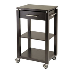 """Winsome - Linea Kitchen Cart - Features: -Practical kitchen cart.-Crafted from solid wood.-2 Practical shelves.-Single pull-out drawer with chrome handle.-Gliding casters for easy moving.-Finished in espresso.-Product Type: Kitchen cart.-Collection: Linea.-Base Finish: Espresso.-Counter Finish: Espresso.-Distressed: No.-Powder Coated Finish: No.-Gloss Finish: No.-Base Material: Solid and composite wood.-Counter Material: Solid and composite wood.-Hardware Material: Stainless steel.-Solid Wood Construction: No.-Stain Resistant: No.-Warp Resistant: No.-Exterior Shelves: No.-Drawers Included: Yes -Number of Drawers: 1.-Push Through Drawer: No.-Dovetail Joints: No.-Drawer Dividers: No.-Drawer Handle Design: Pull Handle.-Silverware Tray : No..-Cabinets Included: No.-Towel Rack: Yes -Removable Towel Rack: No..-Pot Rack: No.-Spice Rack: No.-Cutting Board: No.-Drop Leaf: No.-Drain Groove: No.-Trash Bin Compartment: No.-Stools Included: No.-Casters: Yes -Locking Casters: Yes.-Removable Casters: Yes..-Wine Rack: No.-Stemware Rack: No.-Cart Handles: No.-Finished Back: Yes.-Weight Capacity: 40 lbs.-Shelf Weight Capacity: 20 lbs.-Swatch Available: No.-Commercial Use: No.-Recycled Content: 0 % .-Eco-Friendly: No.Specifications: -ISTA 3A Certified: No.Dimensions: -Overall Height - Top to Bottom: 35.04"""".-Overall Width - Side to Side: 21.65"""".-Overall Depth - Front to Back: 15.75"""".-Width Without Side Attachments: 21.65"""".-Countertop Width - Side to Side: 21.65"""".-Countertop Depth - Front to Back: 15.75"""".-Shelving: -Shelf Height - Top to Bottom (Top) : 11.4"""".-Shelf Height - Top to Bottom (Bottom) : 11.6"""".-Shelf Width - Side to Side: 19.4"""".-Shelf Depth - Front to Back (Top) : 14.17"""".-Shelf Depth - Front to Back (Bottom) : 15.75""""..-Drawer: -Drawer Interior Height - Top to Bottom: 4.33"""".-Drawer Interior Width - Side to Side: 16.22"""".-Drawer Interior Depth - Front to Back: 12""""..-Overall Product Weight: 2 lbs.Assembly: -Assembly Required: Yes.-Tools Needed: Hardware included.-Additional Parts"""