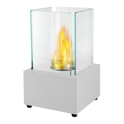 Moda Flame - Moda Flame Pavilion Tabletop Firepit Bio Ethanol Fireplace in White - Forget about candles and other table top accents to add ambiance. The Pavilion Tabletop Firepit Bio Ethanol Fireplace offers the elegance and ambiance you have been looking for. The sleek ventless tabletop modern real flames fireplace offers a real fire that is portable to any room and outdoors. The Pavilion is clean burning and no installation required.