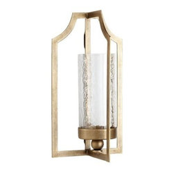 Gilded Wall Sconce - Get your glow on with a pillar candle and this gilded sconce from Pier 1. It's both elegant and simple, two of my favorite things.