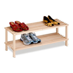 Honey Can Do - 2-Tier Unfinished Natural Wood Shoe Rack - Natural, unfinished pine wood shoe rack. Easy to assemble, no tools or hardware needed. Assembly required. 29.1 in L x 10.4 in W x 11.6 in H