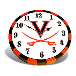 Baby Fanatic - NCAA Virginia Cavaliers 9 inch Wooden Wall Accent Clock - FEATURES: