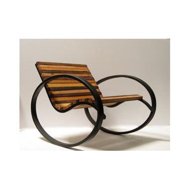 Eco Friendly Furnture and Lighting - CARBON STEEL FRAME: BLACK/ WOOD: PINE, OAK, WALNUT and MAHOGANY IN A MIX . Indoor and outdoor