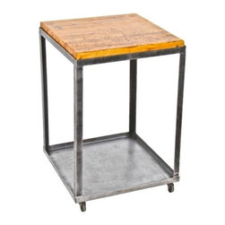 Repurposed Artifacts - late 1940's vintage american industrial custom built all-welded heavy gauge steel mobile cart salvaged from a recently shuttered metal office furniture factory, located in chicago, il. the repurposed workstation contains a newly added rock hard maple wood inset top salvaged from an old bowling alley lane. measures 25 x 25 x 38 inches.