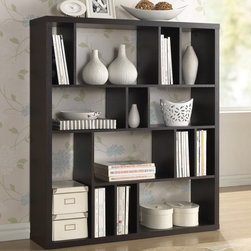 Baxton Studio - Baxton Studio Declan Dark Brown/ Espresso Modern Storage Shelf - A simple, contemporary form makes the perfect blank canvas for displaying your photos, books, and other treasures. This fun but functional modern shelving unit is made with dark brown/ espresso faux wood grain paper veneer over a frame of engineered wood.