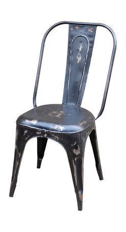 Four Hands - Rockwell Bistro Dining Chair, Carbon - You want to dine deliciously — and responsibly. So why not decorate your space with refurbished material furniture? This delightfully distressed chair, made from salvaged iron, has a basic red or black finish sure to fit in with your eclectic decor.