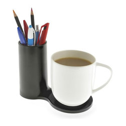 J-Me - Jot Desk Coaster - Coffee, a coaster and a pen: If you have these items at your desk, your day is already off to a good start. (Note how coffee is listed first.) With this convenient station, you have a place to set down your cup, before you pick up that pen.