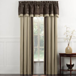 Ellison First Asia Llc - Blair Eggplant Window Panel Pair - Outfit your home in regal sophistication with this luxurious window drapery pair. These window panels feature a warm beige that coordinate's with the Blair Eggplant's quilted flower design with a matching stripe of eggplant.