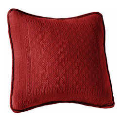 Historic Charleston Collection - King Charles Matelasse Scarlet 18-Inch Square Decorative Pillow-Only - - Steeped in Historic Charleston?s rich, classic style and decorative arts culture, the King Charles 100% cotton matelass� bedding collection offers a unique blend of European, Caribbean, and Asian influences.   - King Charles matelass� bedding offers a luxuriously soft bedspread, coverlet, bed skirt, shams and decorative accent pillows featuring classic 19th century motifs representing the sun, a topiary, a pheasant, and a pineapple.   - The superior design of the King Charles matelass� bedding ensemble can be traced back to England circa 1820, incorporating key influences from that time period including the fine arts and superior craftsmanship.   - Each piece is crafted individually on special weaving looms to create the luxurious design that defines this lovely matelass� bedding collection.   - Highs and lows created during the jacquard weaving process allow the intricate designs and motifs to come to life.   - Designs from the archives of Historic Charleston?s heritage, were interpreted to create the lovely King Charles bedding set.   - Rolling arches, half-moons, double diamonds and scrolling vine details wrap around the classic topiary, pheasant, sun and pineapple motifs.   - Coverlet and bedspread drape beautifully over the bed to reveal rounded corners.   - Pair the bedspread or coverlet with bed skirt to create a complete look.   - Add coordinating, decorative shams and pillows to create the ultimate bedroom oasis.   - The heavy-weight, stonewashed matelass� of King Charles bedding ensures life-long durability and style for generations to come.   - Crafted in Portugal.   - Stone-washed.   - 100% cotton matelass�.   - The Historic Charleston Foundation was established in 1947 and is a nonprofit organization whose mission is to preserve and protect the historical, architectural and material culture that make up Charleston?s rich and irreplaceable heritage. 