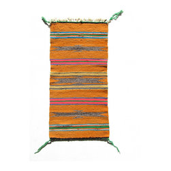 Consigned Bright Orange Gallup Throw - Vintage Navajo Rug with Bright Orange, Yellow, Pink and other colors in stripes with Diamonds. Gallup Throw style with fringe at one end. Could be made into a stylish Navajo Rug handbag, placed on a chair, or used as a table runner.