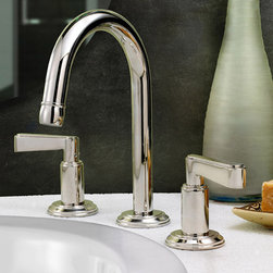 Featured Vendor - Watermark Designs - The Anika faucet, with its dramatically curved spout and all metal dual-levers or dual cross-handles, is at once classic and simple and chic enough to blend perfectly in a modern space.