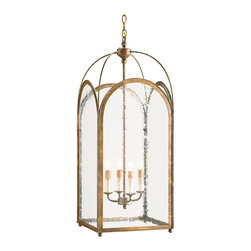 Kathy Kuo Home - Valprima Aged Gold Hanging Lantern 4 Light Chandelier - From the arched, metal framed panels to the domed open top, all the traits of an elegant contemporary architectural style glass panel lantern chandelier are on offer in this four light beauty.  From French country to contemporary styles, the clean lines and refined metal work make it an easy piece for countless settings.