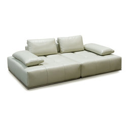 "Diamond Sofa - Skyline 2Pc Lounger with Adjustable Backrests in Ice - The Skyline Collection by Diamond Sofa is a sleek, low profile sit that lets you lean back and relax in lavish comfort and style. Extra-wide loose arm cushions provide an extra dose of softness, great for lying down at any hour of the day. Adjustable Backrests let you change the depth of the sit depending on the mood or events at hand. Topped with plush cushioning, this collection is bursting with straight lines, cool character and fresh contemporary style. The 100% top Grain Dark Grey Skyline features a kiln-dried hardwood frame that is glued and reinforced, offers strength, while the zig zag spring suspension base gives you a supple seating that will hold up for years. The elastic webbing back suspension offers additional stability while allowing for the leather to breathe and maintain its shape. Tufted seat cushions are comprised of a high density foam cushion wrapped in polyester fibers to ensure a comfortable, relaxing and lasting seat. The metal trim enhances the aesthetic quality of the piece. Ice, 100% Top Grain Leather lines the entire piece to provide and ensure years of comfort and enjoyment. Each Skyline Square measures 48 inches wide by 55 inches deep by 31 inches high. 2PC Lounger measures 96 inches wide by 55 inches deep by 31 inches high.; 100% Top Grain Leather in Ice Finish; Adjustable Backrest for changing seat depth; Finished on all sides for use anywhere in the room; Loose Arm Pillows for added flexibility and comfort; Hardwood Frame with Lifetime Warranty; Primary Material: Top Grain Leather; Fabric Content: Polydacron, Polyester Fibers; Weight: 274 lbs; Dimensions: 96""L x 55""W x 31""H"
