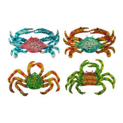 Set of 4 Decorative Crackle Finish Wall Hanging Crabs - This set of 4 colorful crustaceans is an excellent accent to any wall! They are made of cold cast resin and feature bright colors, a fun crackle finish, and each one mounts to the wall with just one nail. The blue crab with orange legs measures 9 1/4 inches wide, 5 1/2 inches tall, and 3/4 of an inch deep. The orange crab with green legs measures 10 inches wide, 7 inches tall, and 3/4 of an inch deep. The green crab with orange legs measures 9 3/4 inches wide, 6 inches tall, and 1/2 of an inch deep. And last, but not least, the pink crab with blue legs measures 9 1/4 inches wide, 5 1/2 inches tall, and 1/4 of an inch deep. They will look lovely any way you decide to display them, and are sure to get compliments!