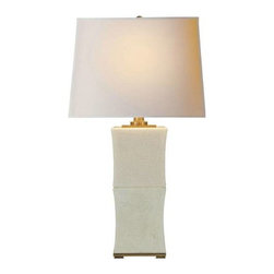 """Visual Comfort - Visual Comfort CHA8635TS-NP Chart House 1 Light Pillow Form Table Lamp in Tea St - Visual Comfort and Co's premier brand, under the design direction of Earle F. (Sandy) Chapman. Traditional silhouettes adapt to today's proportions and performance for gracious versatility. Their most comprehensive line, including delighting and accessories.Base: 7-1 2"""" Square Collection: Chart House Finish: Tea Stain Height: 35 Number of Lights: 1 Shade Dimensions: 16"""" x 18"""" x 13-1 4"""" Shade Finish: Natural Paper Socket: Dimmer Socket 1 Base: A Socket 1 Max Wattage: 150 Wattage: 150 A Width: 18"""