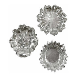 Uttermost - Uttermost Silver Flowers Wall Art, Set of 3 08503 - Delightful, silver plated flower designs accented with a light gray wash. May be used as wall decor or tabletop accessories.