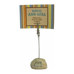 """WL - 4.25 Inch """"ROCK and ROLL"""" Inscription on Stone Base Photograph Clip - This gorgeous 4.25 Inch """"ROCK and ROLL"""" Inscription on Stone Base Photograph Clip has the finest details and highest quality you will find anywhere! 4.25 Inch """"ROCK and ROLL"""" Inscription on Stone Base Photograph Clip is truly remarkable."""