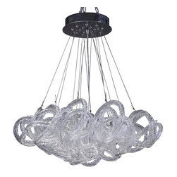 Viz Glass, Inc. - Infinity Chandelier, Clear - Add instant elegance to your home with the Infinity Chandelier. This unique piece is handblown from Italian Glass and features a tangle of textured clear glass strands hung from a chrome hardware base. Variations may occur in individual pieces. Maximum height is 65 inches. Includes five 40 watt candelabra bulbs. UL listed. Hardwire; professional installation recommended.