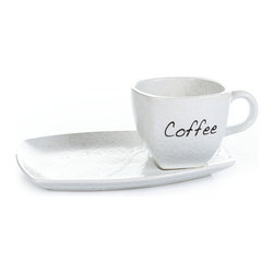 "Concepts Life - Concepts Life Cup with Plate  Subtle Scripts - The perfect cup for your daily coffee ritual. This stonewear white mug and plate set features an elegant script label with a softly squared lip - an stylish and functional addition to any table. Makes an ideal housewarming gift, especially when complimented by the Subtle Scripts Teapot. Comes wrapped in a gift box.  Cup and plate are crafted from 100% high-quality stonewear Baked and glazed at hugh temperatures for extra durability Dishwasher safe Plate dimensions: 9""l x 6""w Cup dimensions: 4""h"