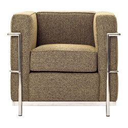 East End Imports - Le Corbusier LC2 Armchair in Woolen Mix Oatmeal - The LC2 represents uncompromising quality with affordability you won't find anywhere else. Each piece is made to preserve the specifications of the original using modern day manufacturing techniques, so every surface is sleek and smooth. This exceptional piece of furniture provides you comfort and long lasting quality, the kind you deserve.