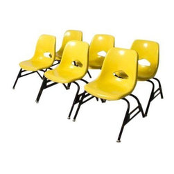 Pre-owned Krueger Kids Chairs - Set of 6 - Set of six child size yellow fiberglass chairs. So so cute!