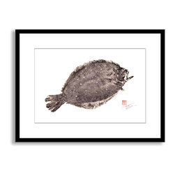 Gallery Direct - Dwight Hwang's 'Flounder Fluke' Framed Paper Art, 20x16 - A nod to the traditional Japanese art of gyotaku, meant as a way to record a proud catch for fishermen, this print captures delicate detail of the actual fish. This striking print comes framed and matted with a three inch white mat. The perfect way to add character, depth and value to your room, it is printed using the highest quality materials. Arrives ready to hang.