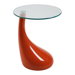 Euro Style - End Table with Round Glass Top - High gloss ABS base with 8 mm glass top. Made of ABS . Picture in Orange. Some assembly required. 17.75 in. W x 17.75 in. D x 21 in. H