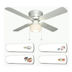 """Beatrix Potter Peter Rabbit Mother Goose 42"""" Ceiling Fan and Lamp - 42-inch 4-blade ceiling fan with a dome lamp kit that comes with custom blades. It has a white flushmount fan base. It has an energy efficient 3-speed reversible airflow motor for year long comfort. It comes with complete installation/assembly instructions. The blades can be cleaned with a damp cloth. It is made with eco-friendly/non-toxic products. This is brand new and shipped in the original box. This is not a licensed product, but is made with fully licensed products. Note: Fan comes with custom blades only."""