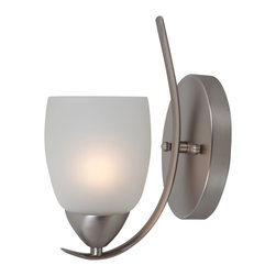 None - Yosemite Home Decor 1-light Wall Sconce with White Handleless Cup Glass Shade - This Yosemite Mirror Lake Collection 1261-1WS-BN 1-Light Wall Sconce in Brushed Nickel finish would be a perfect addition to any decor. It has an etched white glass shade in a handle-less cup shape.