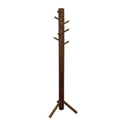 Proman - Farmhouse Coat Tree, Walnut Color - Farmhouse coat tree. Walnut color with 8 rotating hooks. Beautifully hand crafted. 8 swivel pegs for hanging. Solid wood structure. Walnut Finish.