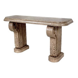 "GILANI - Cast Stone Console Base (2 Pedestals) - Cast Stone Console Base (Low) (2 Pedestals). Style no. CO12100. 66""w x 22""d x 32""h. Cast Stone Console (High) (2 Pedestals). Style no. CO12110. 66""w x 22""d x 36""h. Material: Cast stone. Finish: As specified. Top Options: Stone, wood parquetry. Custom sizing available. Designed by Shah Gilani, ASFD."