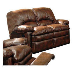 "Coaster - Motion Love Seat (Brown) By Coaster - The indulgent look of leather meets the casual comfort of a recliner in this dual reclining love seat. Exterior handles allow for effortless open and closure of the reclining seats, while padded armrests and overstuffed pillow seats and seat backs further enhance your comfort. Accent stitching on the back lends a casual feel to the love seat's front, and a durable bonded leather wraps the entire piece for a casually elegant look. Dimension: MOTION LOVE SEAT -- COASTER 600332 67"" W X 39"" H X 38"" D"