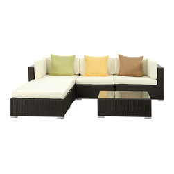Innovate 5-Piece Outdoor Patio Sofa Set - Multiple seating arrangements to suit your many moods. Whether you prefer stretching out over the generously sized ottoman, or draping yourself by the edge when the moment strikes, Innovate has the solution for whatever inspires you. Fitted with three soothing neutral toned throw pillows, reinvent your everyday with a set that transitions along with your state of mind. Innovate is comprised of a UV resistant rattan base, a powder-coated aluminum frame and all-weather cushions. The set is perfect for cafes, restaurants, pool areas, hotels, resorts and other outdoor spaces.