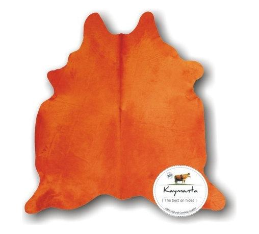 Kaymanta - Colored! Orange Hair on Natural Cow Leather Rug, Luxury Cowhide Rug - Item: Natural Cowhide Rug