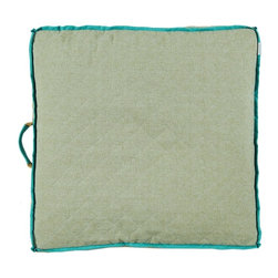 """Lacefield Designs - Quilted Flax with Peacock Linen Flange Floor Pillow by Lacefield Designs - Stack these floor pillows beneath a console or coffee table for handy use on game night or watching television. When additional seating is needed these comfortable pillows will provide a soft cushion. Awesome for a teenage or game room. Each floor pillow has a gusset for reinforcement and a handle for portability. Multiple patterns and color choices are available. Keep your stack the same or mix and match for variety. (LD) 26"""" square x 4"""" high poly-fill insert"""