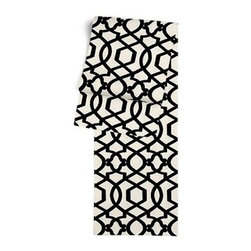 Black Velvet Flocked Trellis Custom Table Runner - Get ready to dine in style with your new Simple Table Runner. With clean rolled edges and hundreds of fabrics to choose from, it's the perfect centerpiece to the well set table. We love it in this black velvet flocked trellis in on cream cotton that adds subtle texture and warmth to your room.