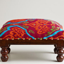 Rectangular Embroidered Upholstery Footstool - This fantastic splash of color is a nice place to prop up your feet or rest a stack of blankets. I love little pieces like this because they add a ton of character without a huge commitment.