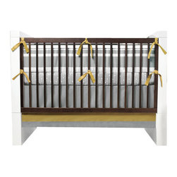 Oilo - Triple Band 3-piece Crib Set, Stone & Citron - The modern color combos and chic design of this baby bedding would be the perfect complement to a contemporary nursery. The colors are a refreshing shift from pink and blue and would be great for a baby boy or girl. The set comes with a bumper, fitted sheet and bed skirt. Everything you need to bring baby home in style.