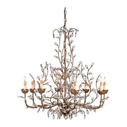 Kathy Kuo Home - Enchanted Forest Crystal Bud 8 Light Chandelier - A free form arrangement of crystal buds on a delicate metal silhouette gives this chandelier its distinctive enchanted forest appearance.  The antique bronzed finish lends a rich warm appearance to the light whimsical scale framework.