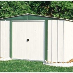 Arrow Hamlet 10 x 8 Storage Shed - For a picture perfect lawn and garden, all you need is an Arrow Hamlet 10 x 8 Storage Shed. Whether you're tidying up lawn implements, athletic equipment, or holiday decorations, this shed provides you the perfect place to quickly stow all those outside necessities that aren't always necessary to have outside. The beautifully paired eggshell and green-meadow color combination adds a romantic touch of the lush countryside that compliments any exterior design or landscaping. And the low gable of the reinforced steel roof both avoids rainwater pooling up top and affords you a little extra head room when grabbing your implements. With easy-sliding doors that can be padlocked, this shed keeps your items safe and sound. Made in the United States, this shed is constructed with electro-galvanized steel, making it affordable, durable, and attractive. With numbered and predrilled parts, this shed can be assembled quickly and easily as a weekend project with basic DIY skills.Additional Features:Exterior Dimensions: 123.25W x 95.25D x 70.88H inchesInterior Dimensions: 118.25W x 90D x 69.63H inchesDoor Dimensions: 55.5W x 58H inchesAbout Arrow ShedsEstablished in 1962 as Arrow Group Industries, Arrow Sheds is now the worldwide leader in designing, manufacturing, and distributing steel storage sheds that are easily assembled from a kit. Arrow Sheds hasn't garnered its 12 million customers by resting on its laurels either. The company takes great pride in having listened to their customers over the years to develop quality products that meet people's storage needs. From athletic equipment to holiday decorations, from tools to recreational vehicles, Arrow Sheds prides itself on providing quality USA-built structures that offer storage solutions. Available in a wide variety of sizes, models, finishes, and colors - Arrow's sheds are constructed with electro-galvanized steel to be more affordable, durable, attractive, and easy to assemble.