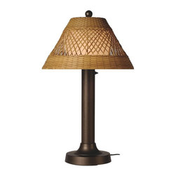 """PLC - Java 34"""" Bronze Tube Table Lamp with Antique Honey Wicker Shade - All-weather handwoven center diamond pattern PVC wicker shade highlights the opal polycarbonate light globe in this elegant outdoor lamp. Features weatherproof all resin construction with heavy weighted base, two level dimming switch and 16 ft. weatherproof cord and plug. Waterproof light bulb enclosure allows the use of a standard 100 watt light bulb. Dimensions: 20"""" L X 20"""" W X 34"""" H"""