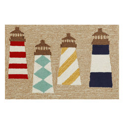 """Trans-Ocean Inc - Lighthouses Natural 20"""" x 30"""" Indoor/Outdoor Rug - Richly blended colors add vitality and sophistication to playful novelty designs. Lightweight loosely tufted Indoor Outdoor rugs made of synthetic materials in China and UV stabilized to resist fading. These whimsical rugs are sure to liven up any indoor or outdoor space, and their easy care and durability make them ideal for kitchens, bathrooms, and porches; Primary color: Natural;"""