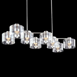 "Sonneman Lighting - Transparence 8-Light Rectangle Chandelier by Sonneman Lighting - The Sonneman Transparence 8-Light Rectangle Chandelier provides a gorgeously glistening constellation of light in modern kitchens or dining rooms. It features eight lights, their luster enhanced by Clear glass drum shades and the Polished Chrome finish on the frame. The use of half chrome bulbs softens glare and adds to the silvery effect.Sonneman A Way of Light is the namesake of founder and lighting designer Robert Sonneman. It was formed to create contemporary lighting that best exemplifies today's cosmopolitan American style. Sonneman Lighting fixtures are elegant and refined, decidedly modern yet clearly influenced by classic 20th century period styles.The Sonneman Transparence 8-Light Rectangle Chandelier is available with the following:Details:8 drum-shaped Clear glass shadesMetal frame and supportsPolished Chrome finishRectangular ceiling canopyHang straight swivel suitable for sloped ceilings up to 15 degreesTwo 6"" and six 12"" stemsUL ListedLighting:Eight 60 Watt 120 Volt Type A19 Half Chrome Medium Base Incandescent lamps (not included).Shipping:This item usually ships within 3 to 5 business days."