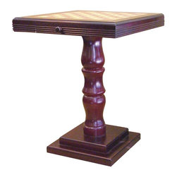 ORE International - Square Pedestal Accent Table in Brown Finish - Square top. Storage drawer. Pedestal base. Bamboo style leg. Use as gaming table to accent table. Made from wood composite. 22 in. W x 22 in. D x 27.5 in. H (35 lbs.)Multi-purpose table ideal in the den or family room. The table is a budget friendly piece that will easily enhance any space.