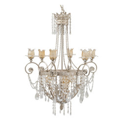 LogicSun/Montalto - Aidone Chandelier - Why just light when you can delight? This impeccable pendant fixture is a fantasy come true of hand painted wrought iron, Swarovski crystals and Murano glass flowers. A gorgeous ceiling centerpiece for your favorite formal setting!