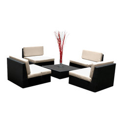 MangoHome - Outdoor Patio Furniture Wicker Sofa Sectional 5pc New Resin Couch Set - Outdoor Patio Furniture Wicker Sofa Sectional 5pc New Resin Couch Set