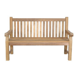 Anderson Teak - Devonshire 3-Seater Extra Thick Bench - Unfinished - A bold post design adds a rustic look to this three-seat bench.  It's solidly crafted in teak with traditional straight slat back and gently curved seat with smoothed edges.  Designed for public placement and a wonderful addition in home garden areas. * 3-Seater. Straight slat back design. With arms. Teak wood construction. Overall: 60 in. L x 21 in. W x 39 in. H (65 lbs.). Seat height: 18 in.The classic Devonshire Bench is recommended for use in parks, malls, hotels, resorts, city sidewalks or public squares. These are the benches that be used robustly for generations. This is simple traditional styling that has not ever and will not ever go out of style, but quietly blends with any decor. We have made subtle but careful design changes to ensure excellent back support. Quality built for decades.