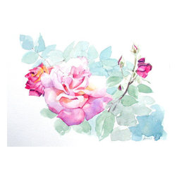 """""""Soft Pink Roses"""" (Original) By Greta Corens - Delicate Rose And Buds In The Sunlight Mellow Against Soft Pastel Aqua Leaves Melted In The Harsh Sunlight, I Captured Them On My Watercolor Paper Before It Was Too Late."""