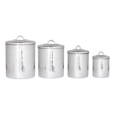 """Old Dutch International - 4 Pc. Stainless Steel Hammered Canister Set w/Fresh Seal Covers - Bring old-school cool to your countertop or pantry. These handsome hammered stainless steel canisters keep staples handy and, thanks to """"Fresh Seal®"""" technology, poppin' fresh."""